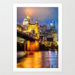 John A. Roebling Bridge - Cincinnati Ohio Art Print