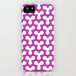 Hot Pink Triangles on White iPhone Case