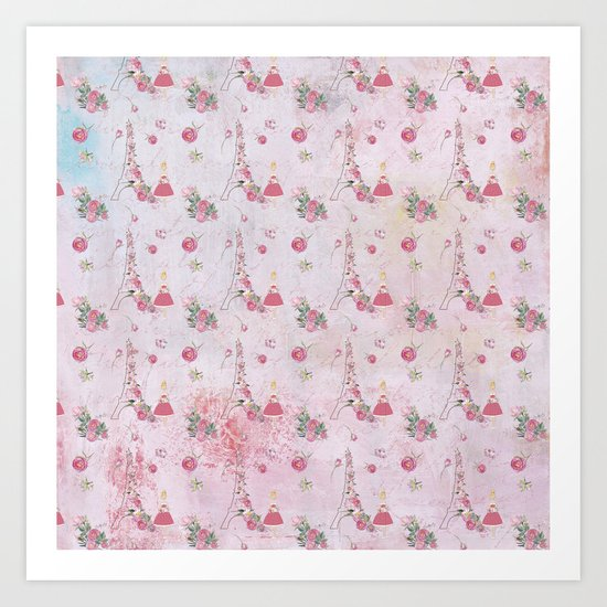 Pink Valentine Eiffeltower Girl and rose flower pattern Art Print