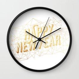 Happy New Year – White Wall Clock