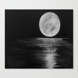Full Moon, Moonlight Water, Moon at Night Painting by Jodi Tomer. Black and White Canvas Print