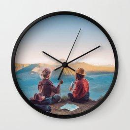 Sunset over Mount Bromo Wall Clock