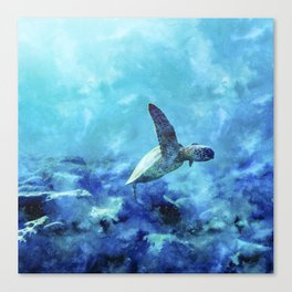 Sea Turtle Into The Deep Blue Canvas Print