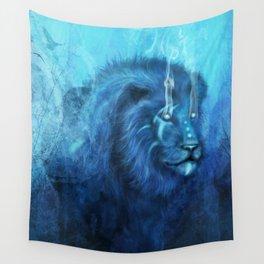 Blue Spirit Lion Wall Tapestry