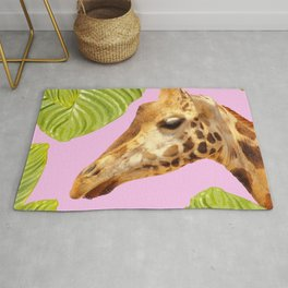 Giraffe with green leaves on a pink background #decor #society6 #buyart Rug