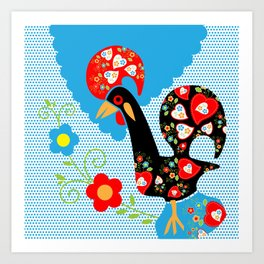Portuguese Rooster of Luck with blue dots Art Print