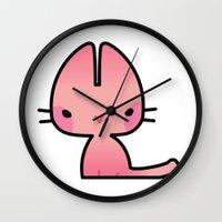 mew Wall Clocks featuring Mew by denaesketch