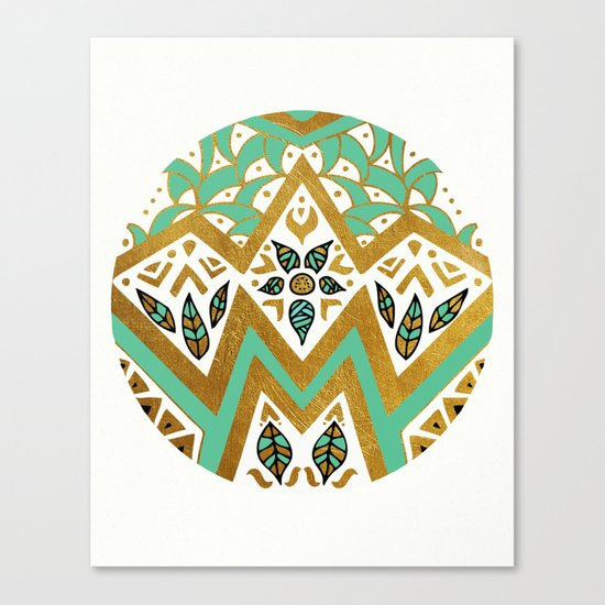 Golden Nature Mandala Canvas Print