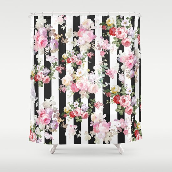 black and white striped shower curtain. Bold pink watercolor roses floral black white stripes Shower Curtain by  water Society6