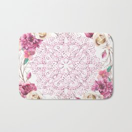 Mandala Rose Garden Pink on White Bath Mat