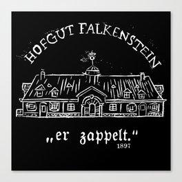 """Hofgut Falkenstein """"er Zappelt"""" White on Black Canvas Print"""