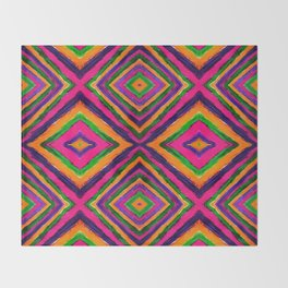 Rainbow Painted God's Eye - Pink Throw Blanket