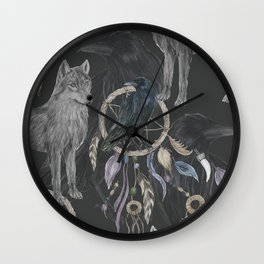 wolf and raven Wall Clock