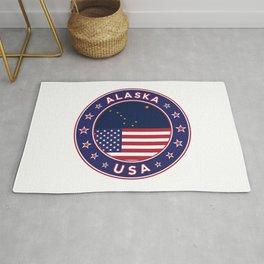Alaska, Alaska t-shirt, Alaska sticker, circle, Alaska flag, white bg Rug
