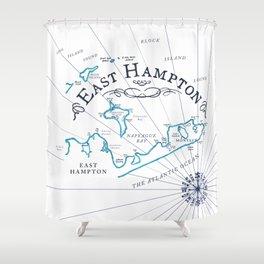 East Hampton Vintage Map Shower Curtain