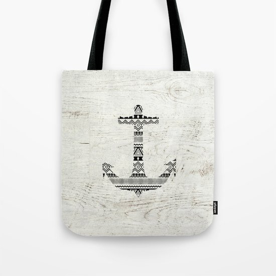 Aztec Nautical Anchor Black White Vintage Wood Tote Bag
