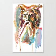 Watercolor Old Man Canvas Print
