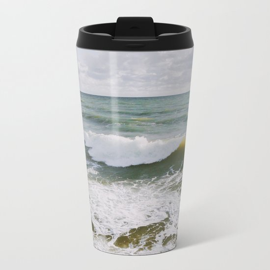 Yellow Wave Metal Travel Mug