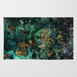 Gold Indigo Malachite Marble Rug