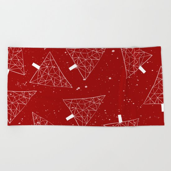 Christmas Trees Red Beach Towel