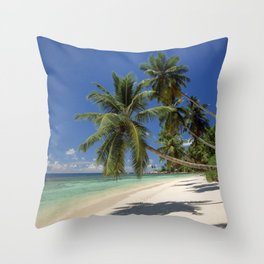 Palm beach, the Seychelles, La Digue island, Throw Pillow