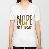 nope V-neck T-shirts featuring Nope by Trend