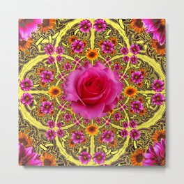 EXOTIC Decorative Yellow ART & Pink Roses Metal Print
