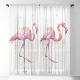 Pink Flamingo Portrait Watercolor Animals Birds   Facing Right Sheer Curtain