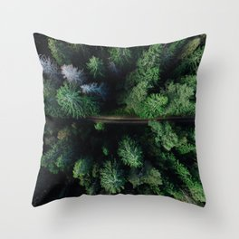 Aerial Forest Green Trees Throw Pillow