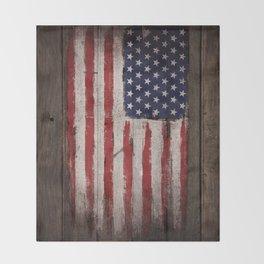 Wood American flag Throw Blanket