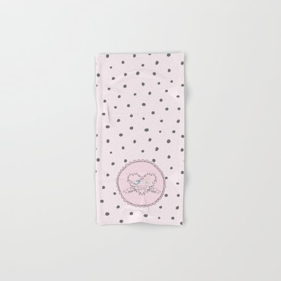 Birds  Love- Typography and grey dots on pink backround Hand & Bath Towel