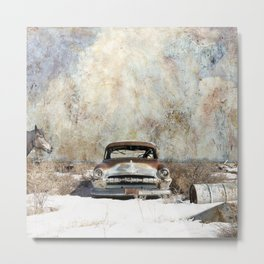 Abandoned In The Snow By Liane Wright Metal Print