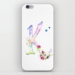 Letter K watercolor - Watercolor Monogram - Watercolor typography - Floral lettering iPhone Skin