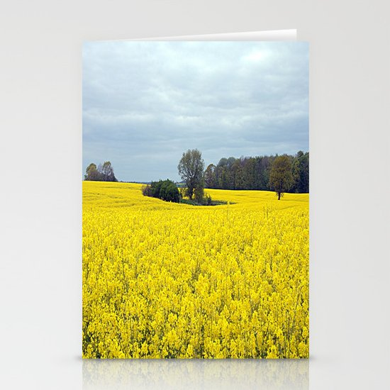 landscape in yellow Stationery Cards