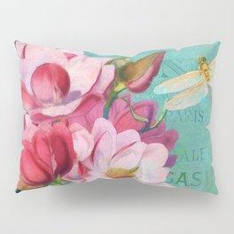 Verdigris Pink Magnolias Pillow Sham