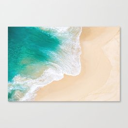Sand Beach - Waves - Drone View Photography Canvas Print