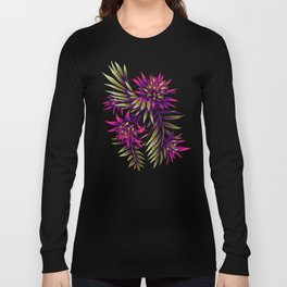 Aechmea Fasciata - Dark Purple / Gold Long Sleeve T-shirt