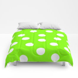 Polka Dots - Lawn Green and White Comforters