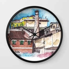 Rome and one of its old chimneys Wall Clock