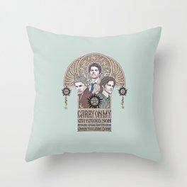 Carry On My Wayward Son (Castiel, Sam and Dean Winchester) Throw Pillow