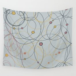 Black, pink and yellow Circles and Scribbles in light grey Wall Tapestry