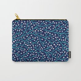 Berry Branches - Turquoise on Navy Carry-All Pouch