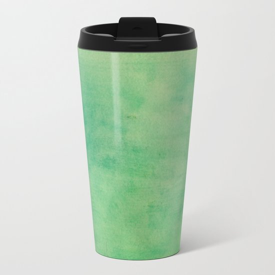 MINT GREEN WATERCOLOR BACKGROUND.  Metal Travel Mug