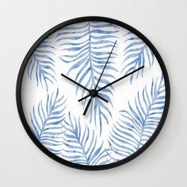 Fern Pattern Blue Wall Clock