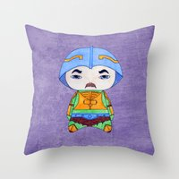 conan Throw Pillows featuring A Boy - Man-at-arms by Christophe Chiozzi