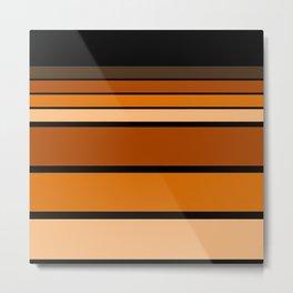 Black and yellow , brown and orange striped pattern . Metal Print