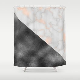 Rose gold marble and gunmetal grey storm Shower Curtain