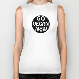 Go vegan now with a paw - black letters Biker Tank