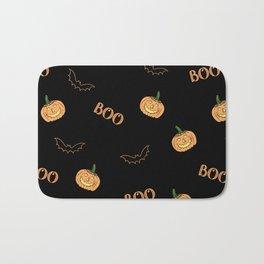 Halloween bat and pumpkin Bath Mat