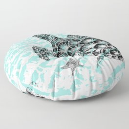 Sea turtle print in black and white Floor Pillow